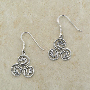 Pair of Irish Celtic Triskele Earrings