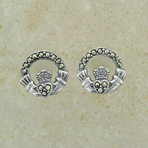 Splendid Marcasite Claddagh Stud Earrings