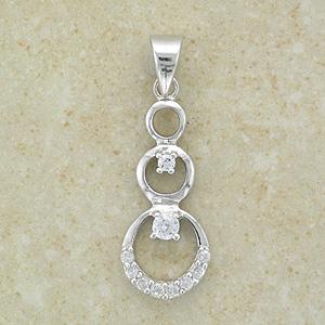 Triple Cz 3 Circles Silver Pendant (with sparkling Cz)