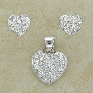 """Cz Heart Pendant & Earrings Matching Set (with 16"""" inch silver chain)"""