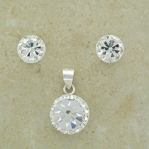 """Clear Compass style Crystal Set (with 16"""" inch silver chain)"""