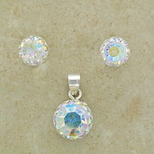 Indescent Crystal Stones Pendant & Earrings (Matching set)