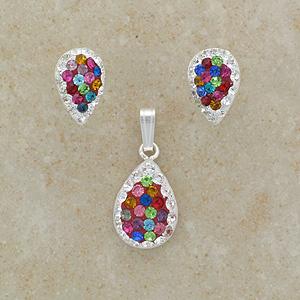 Multi-Colour Crystal Pendant & Earrings Set (Matching)