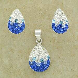 Blue & Clear Crystal Pendant