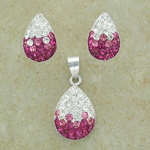 """Pink & Clear Crystal Pendant & Earrings Set (with 16"""" inch silver chain)"""