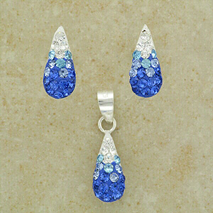 """Blue Crystal Set of Pendant and Earrings (Boxed with 16"""" chain)"""