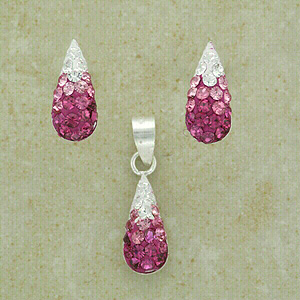 """Pink Crystal Pendant & Matching Earrings (with 16"""" inch silver chain)"""