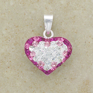 """Pink & Clear Crystal Heart Pendant (Boxed with 16"""" chain)"""