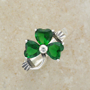 Emerald CZ Silver Shamrock Ring