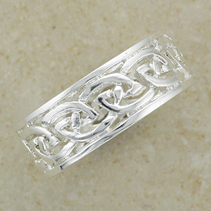 Celtic Knotwork Band Silver Ring