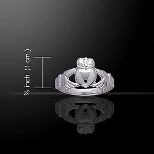 Classy Silver Celtic Claddagh Ring