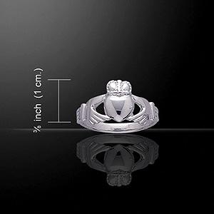 Classy Silver Celtic Claddagh Ring