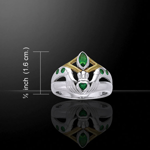 Claddagh Friendship Ring Silver 14K Gold Emerald