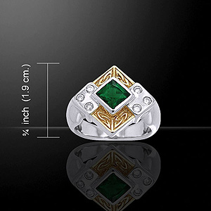 Silver Emerald 14K Gold Celtic Ring