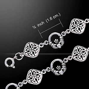 Twin design Celtic Knotwork & Claddagh Silver Bracelet