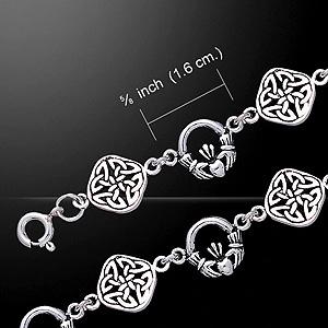 Twin design Celtic Knotwork & Claddagh Silver Bracelet (Showcases 2 ancient celtic symbols)