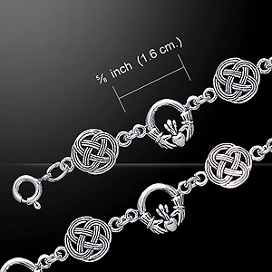 Celtic Knot & Claddagh Gorgeous Silver Bracelet (Symbolising friendship and loyalty)