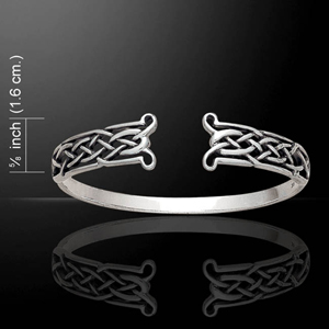 Irish Celtic Knots Open Design Silver Bangle (Intricate Weave)