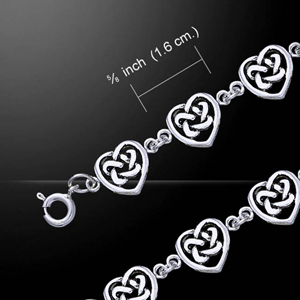 Celtic Knotwork Love Hearts Silver Bracelet