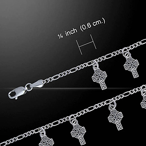 Dangling Celtic Crosses Silver Bracelet