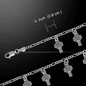 Dangling Celtic Crosses Silver Bracelet (Beautiful Silver bracelet)