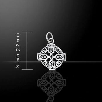 Christian Cross Silver Charm (celtic knot design)