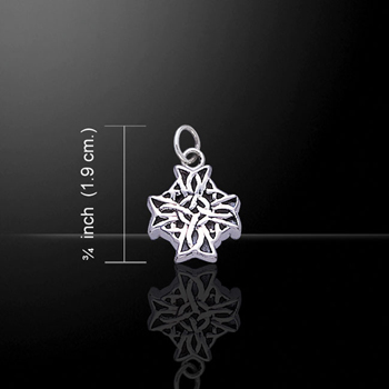 Charming little Silver Celtic Cross Silver Charm (Intricate Celtic Knotwork)