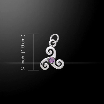 Silver Celtic Triskele Birthstone Charm