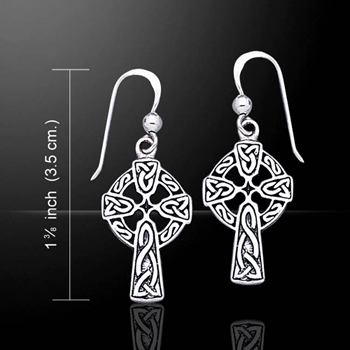 Celtic Crucifix Silver Celtic Earrings
