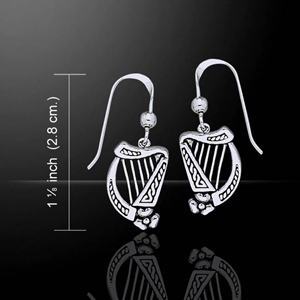 Celtic Knotwork Harp Silver Earrings