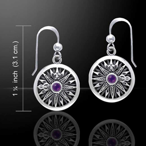 Celtic Compass Earrings with choice of gemstone