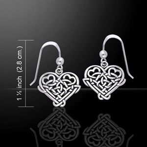 Celtic Knotwork Silver Heart Love Earrings