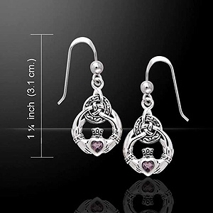 Celtic Claddagh Silver Earrings w/ Amethyst