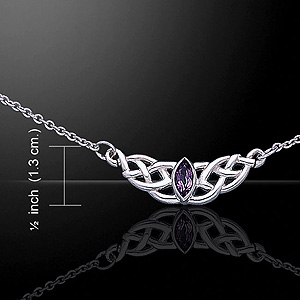 Beautiful Celtic Knot Silver Necklace (with Amethyst)