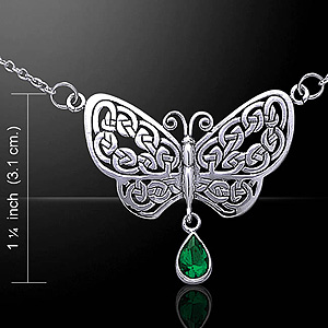 Celtic Knots Silver Butterfly Necklace - Choice of Stone