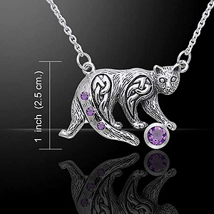 Silver Cat Celtic Knotwork Necklace (Amethyst or Emerald Glass)