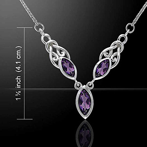 Celtic Knots Silver Necklace with Triple Stone (Make a bold statement !)