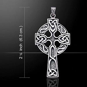 Ornate Celtic Crucifix Silver Cross (ancient Irish art knotwork)
