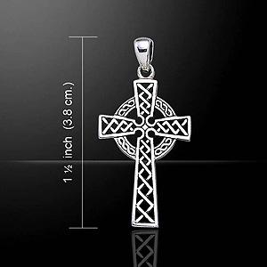 Beautiful Gift Celtic Cross Ornate Silver Pendant (Irish celtic art)