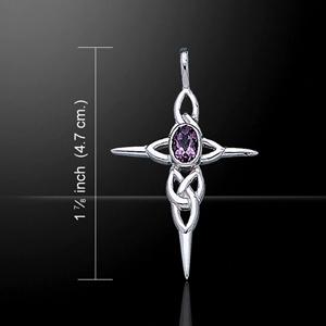 Shimmering Gemstone Celtic Knotwork Silver Pendant (intricate design)