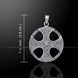 Woven Round Celtic  Cross Silver Pendant
