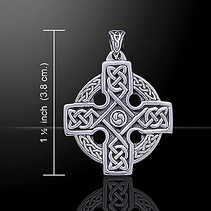 Celtic Knot Surround Cross Silver Pendant