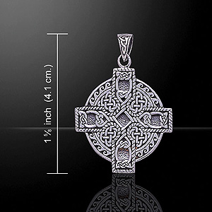 Ornate Knotwork Carving Celtic Cross Pendant
