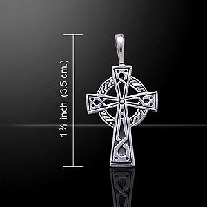 Tradtional Irish Celtic Art Cross Silver Pendant (Symbol of faith & spirituality)