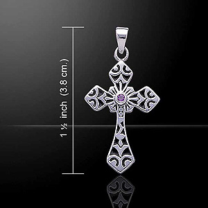 Beautiful Celtic Cross Silver Pendant w gemstone (Choice of stone)