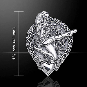 Celtic Knotwork and Claddagh Irish Dancer Silver Pendant