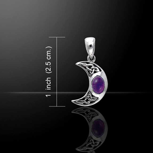 Blue Moon Celtic Gemstone Silver Pendant