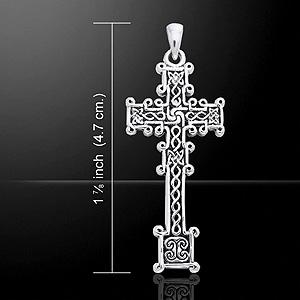 Ornate Celtic Cross Silver Pendant (Cari Buziak)