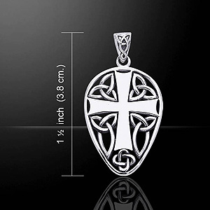 Celtic Cross Silver Pendant surrounding Trinity Knots