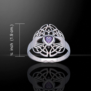 Celtic + Claddagh Silver Ring with Amethyst
